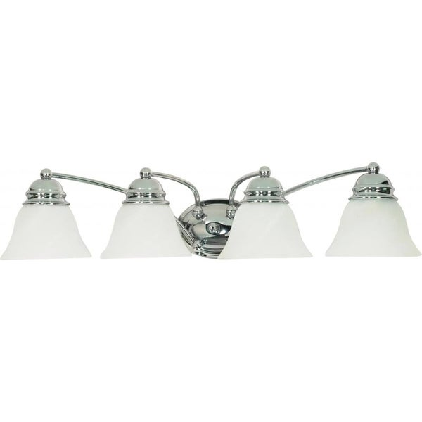 """Nuvo Lighting 60/339 Empire 4 Light 28.8"""" Wide Vanity Light with Alabaster Glass Shades"""