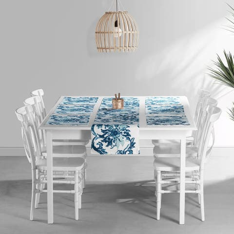 Exclusive Fabrics Indonesian Blue Printed Cotton Table Runner & Placemats