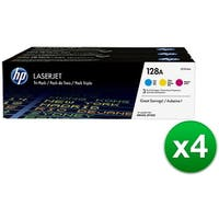 HP 128A Original LaserJet Toner Tri-Color 3 Cartridges (CF371AM)(4-Pack)