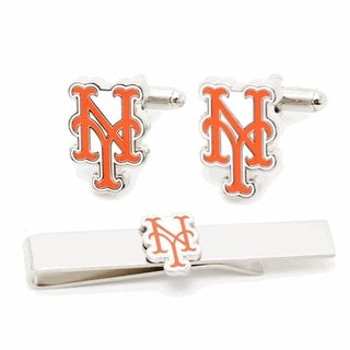 New York Mets Cufflinks and Tie Bar Gift Set MLB - Orange