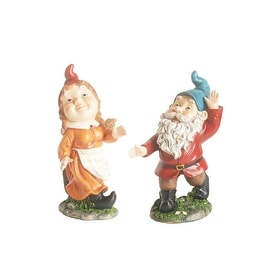 "10.5"" Cheerfully Dancing Forest Gnome Outdoor Patio Garden Statue"