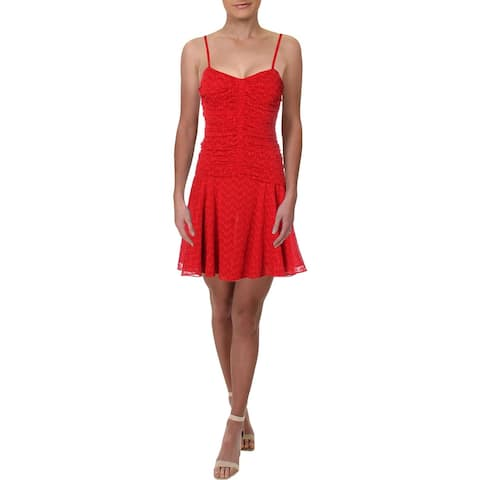 JILL Jill Stuart Womens Cocktail Dress Eyelet Ruched - Hot Lips - 8