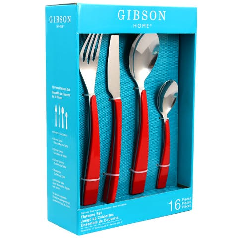 Gibson Home Deco Shine 16 Piece Stainless Steel Flatware Set in Red