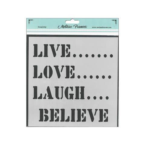 St6021 melissa frances stencil 6x6 live love
