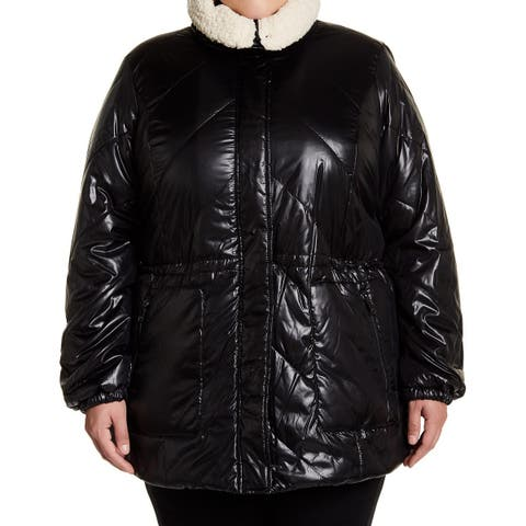 Kenneth Cole Black Womens Size 1X Plus Faux Shearling Lined Jacket