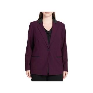 Calvin Klein Womens Plus One-Button Blazer Faux Leather Trim Professional