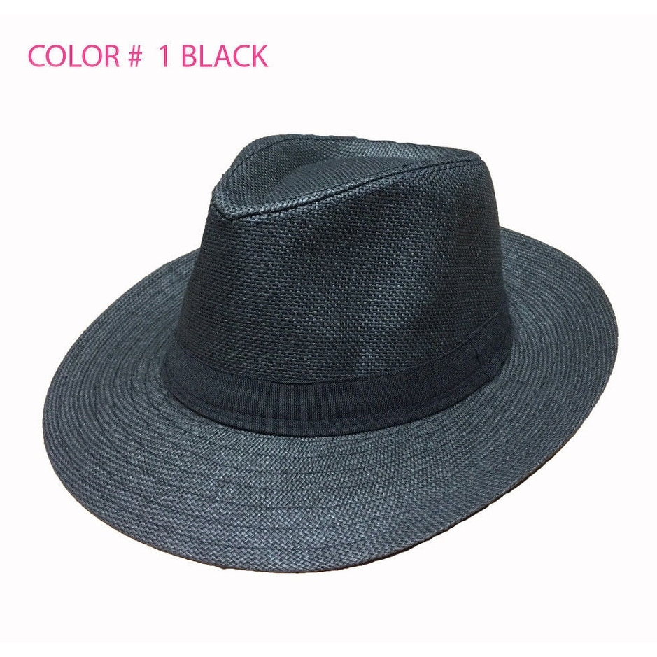 Mens Summer Straw Wide Brim Beach Panama Sun Fedora Hat Hollow Out Mesh Snake Skin Keep Warm