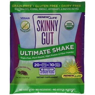 Renew Life Skinny Gut Ultimate Shake Single Serving Packets, Chocolate, 7 Count, NET WT. 10.1 oz