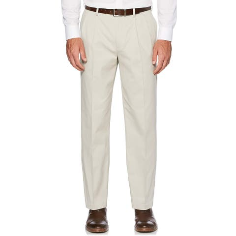 Savane Mens Pants Beige Size 40X30 Flex-Waistband Pleated Stretch