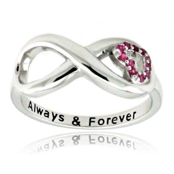 Sterling Silver Always & Forever CZ Heart Ring