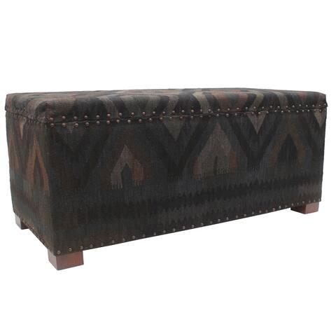 "Tribal Bruce Black Blue Kilim Upholstered Storage Settee - 48""x22""x21"""