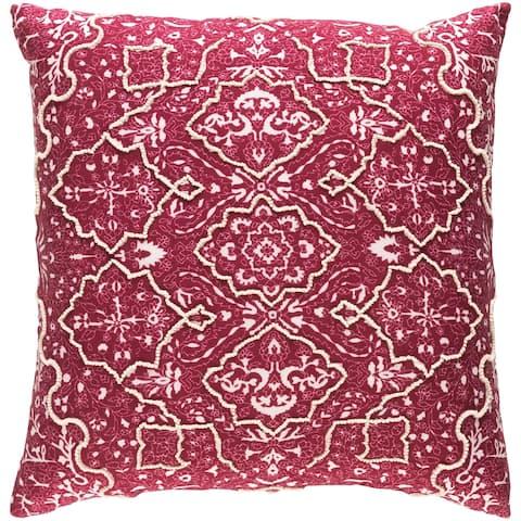 Decorative Saintes Maroon 22-inch Throw Pillow Cover