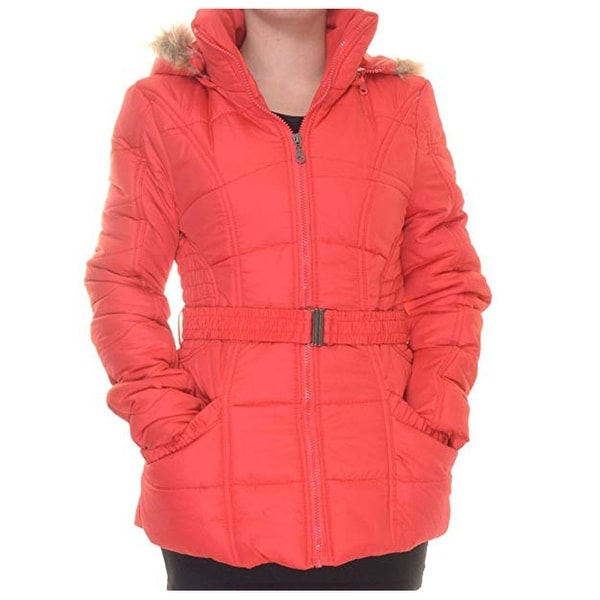 Rampage Faux-Fur-Trim Belted Puffer Coat, Red, Small. Opens flyout.