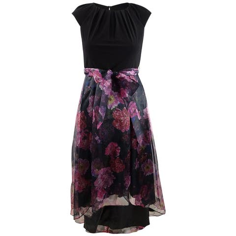 SL Fashions Women's High-Low Floral-Skirt Gown
