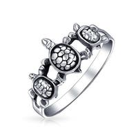 Bling Jewelry Triple Sea Turtle Family Sterling Silver Animal Ring