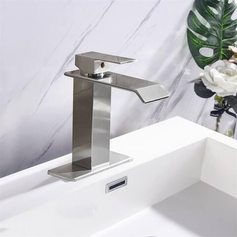Waterfall Spout Bathroom Faucet,Single Handle Vanity Sink Faucet