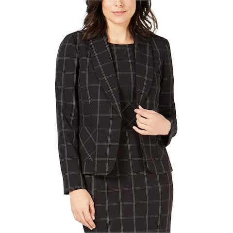 Kasper Womens Plaid One-Button Blazer Jacket, Black, 14