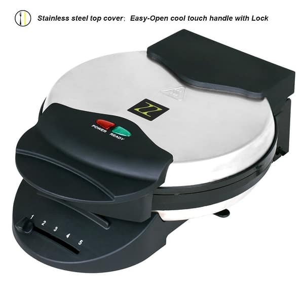 Zz Wf361 5 In 1 Heart Waffle Maker With Non Stick Plate 1090 Watt Silver Overstock 12558359