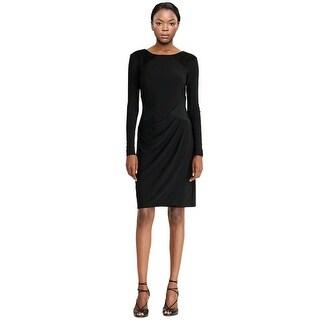 Lauren by Ralph Lauren Ruched Faux Suede Jersey Long Sleeve Dress - 14