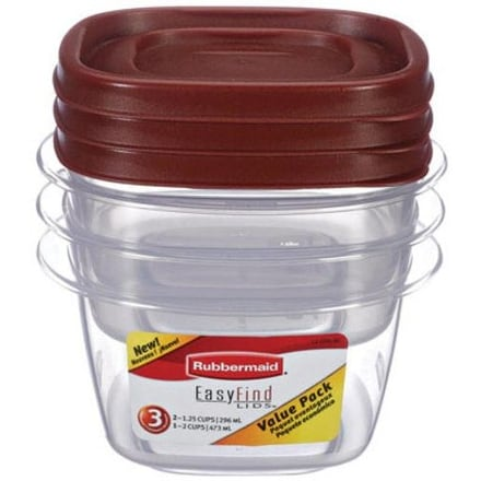 Rubbermaid 1777165 Food Storage Container, 6 Piece, Clear Base