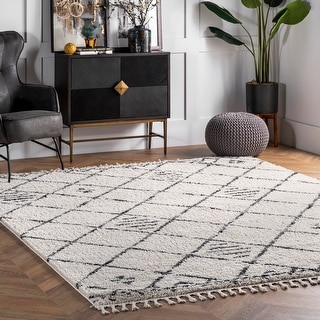 Link to nuLOOM Lucie Shaggy Trellis Tassel Area Rug Similar Items in Rugs