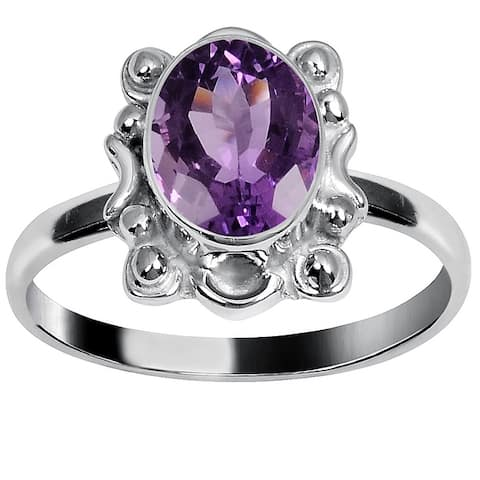 Amethyst Brass Oval Fashionable Rings by Orchid Jewelry