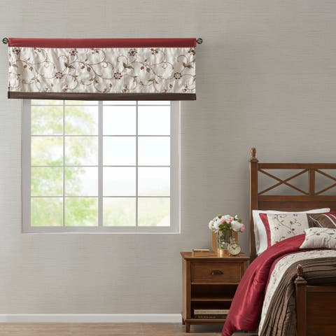 """Madison Park Belle Embroidered Window Valance - 50""""w x 18""""l"""