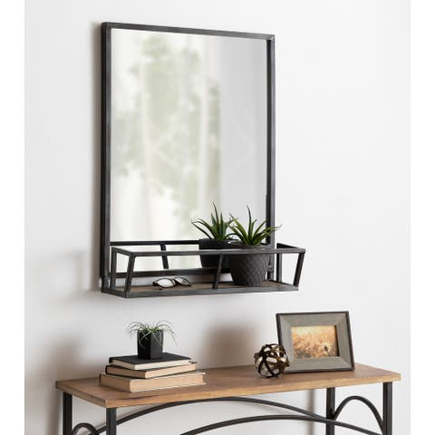 Kate and Laurel Jackson Rustic Black Metal Organizer Mirror With Shelf - 22x29