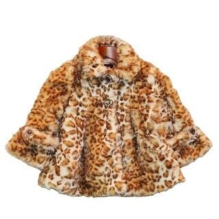 Little Girls Snow Leopard Faux Fur Coat 1T-6
