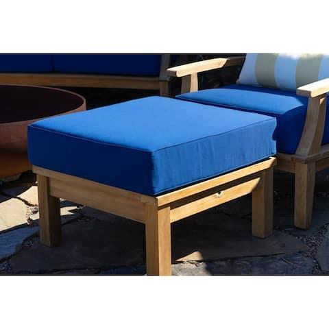 Laurel Navy Teak Outdoor Ottoman with Cushions
