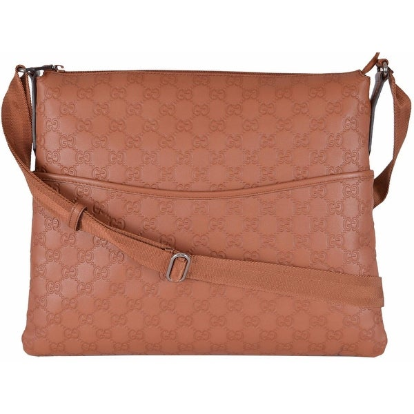Gucci 374411 Large Saffron Tan Leather GG Guccissima Crossbody Messenger Bag