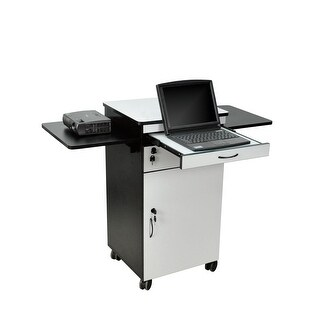 """OF-WPSDD3 - Offex 38"""" Multimedia Workstation with Pullout and Cabinet - Wood"""