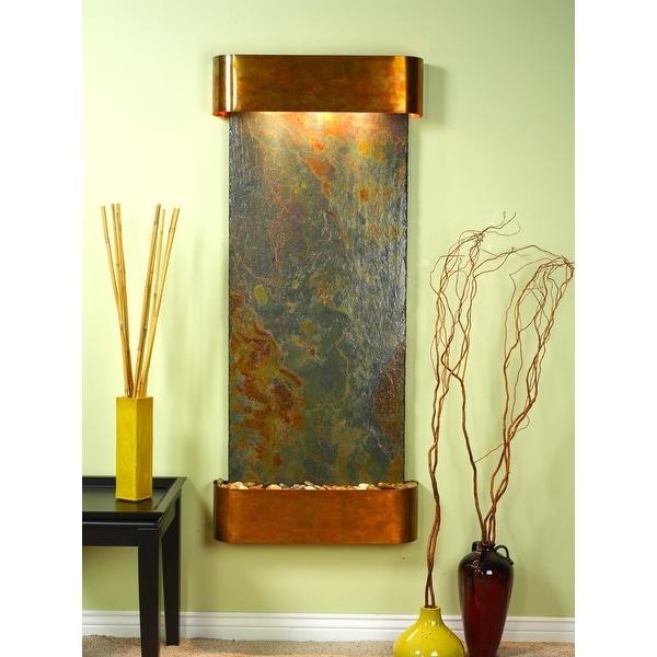 Adagio Inspiration Falls Fountain w/ Rajah Natural Slate in Rustic Copper Finish