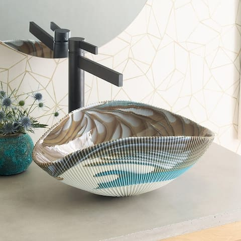 Amalfi Handmade Murano Glass Bathroom Sink - 17.5x12x6.75