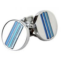 Tonal Blue Pinstripe Cufflinks