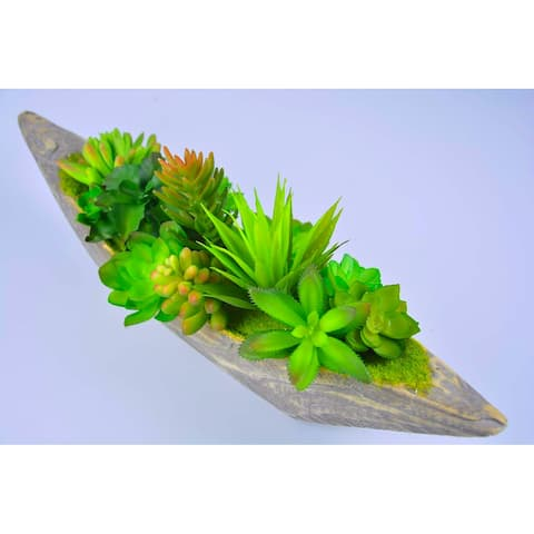 Succulent Artificial Green Plants with Wood Box for Home Decor