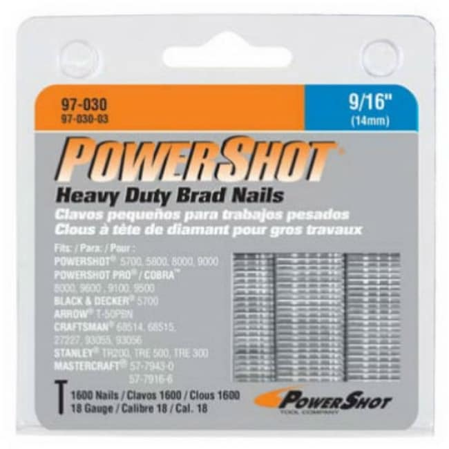 Arrow Fastener 97-030CS Powershot Heavy Duty Brad Nails, 9/16 (1600-Pack)