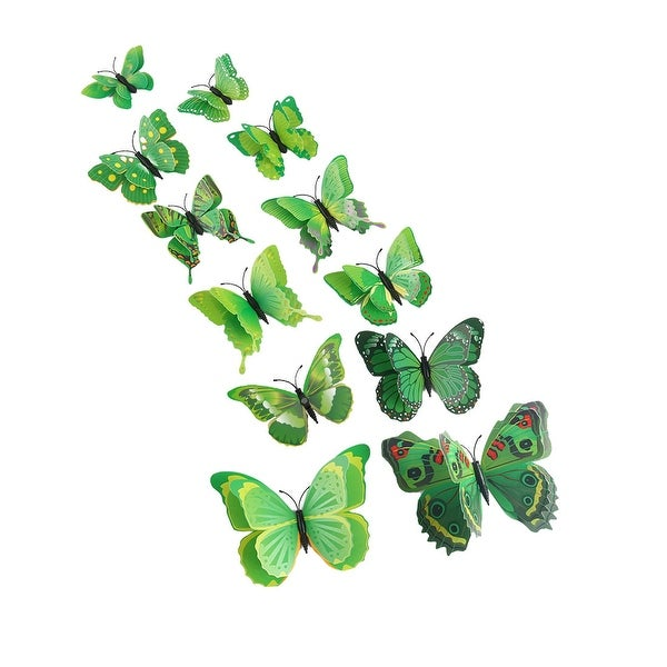 12pcs 3D Butterfly Wall Sticker Decal Sticker for Bedroom Decoration Green