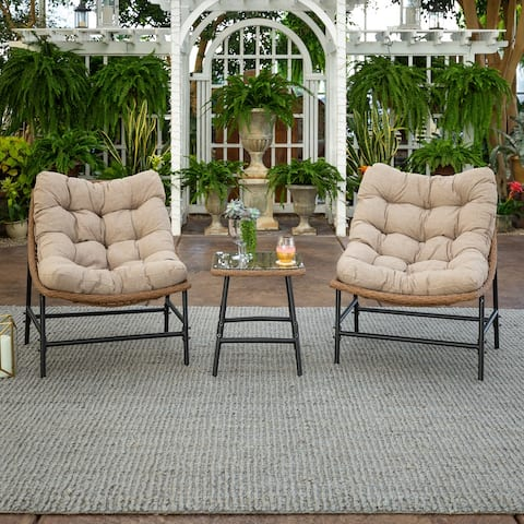 3-Piece Outdoor Rattan Papasan Chairs and Side Table Set