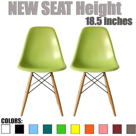 Set of 2, Green Plastic Eiffel chairs Solid Wood Legs Dining