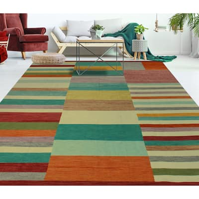 """Hand-Woven Winchester Kilim Marlowe Ivory/Turquoise Rug - 9'11"""" x 14'2"""""""