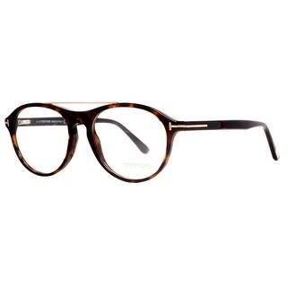 TOM FORD Round TF 5411 Unisex 052 Shiny Havana Brown Clear Eyeglasses - 53mm-17mm-145mm