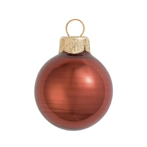 "28ct Pearl Chocolate Brown Glass Ball Christmas Ornaments 2"" (50mm)"