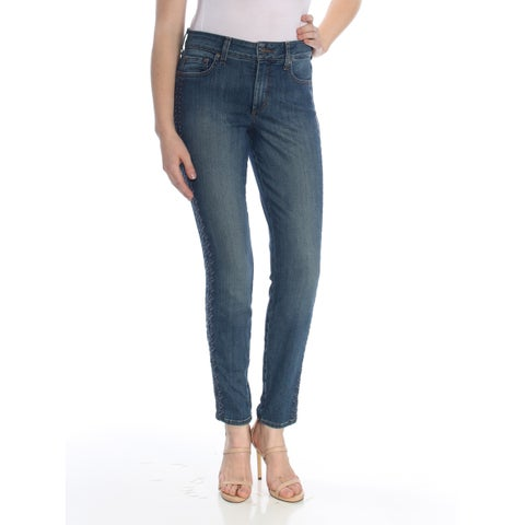 NYDJ Womens Navy Embroidered Pants Size: 8