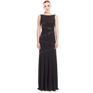 Jovani Zigzag Glitter Embellished Scoop Back Jersey Evening Gown Dress - 14