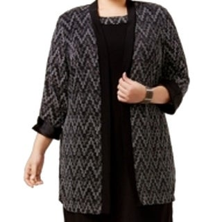 R&M Richards NEW Black Women's Size 14W Plus Glitter Cardigan Sweater