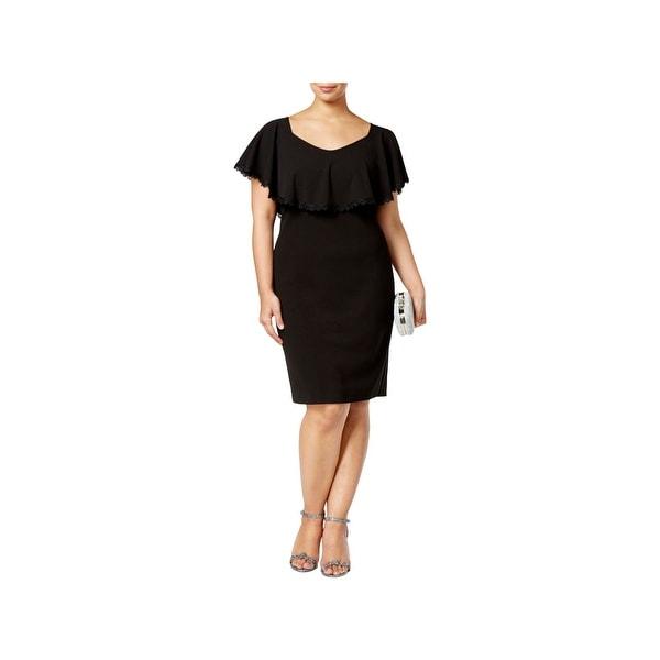 64dee9b5e5ab Shop Betsy   Adam Womens Plus Semi-Formal Dress Crepe Popover ...