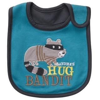 Carter's Baby Boys' Grandma's Hug Bandit Raccoon Baby Teething/feeding Bib Turquoise Gray