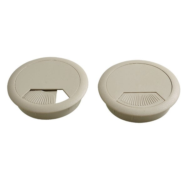 Unique Bargains Computer Desk Plastic Grommet Wire Hole Caps Cable Covers 60mm Gray 2pcs