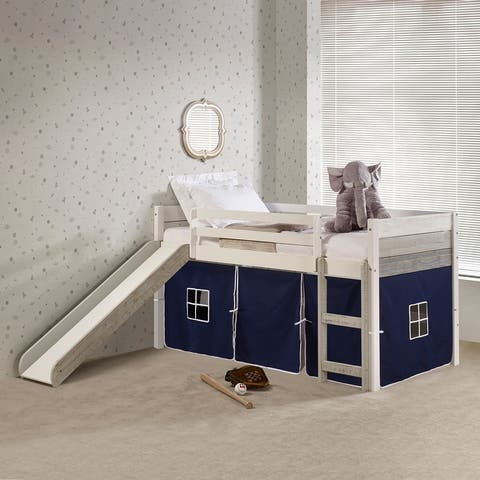 Two Tone Twin Low Loft in Grey & White with Slide
